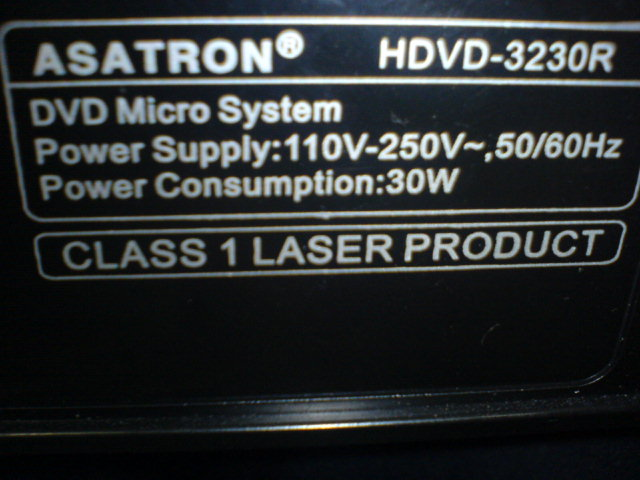 DVD Player Asatron HDVD 3230R