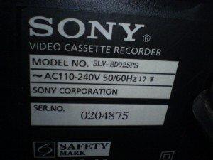 Model Video Cassette Recorder SONY