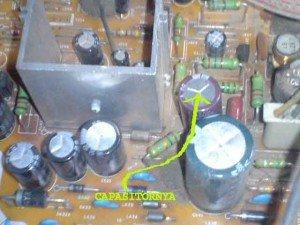 lokasi capasitor sistem vertikal mainboard televisi sanyo