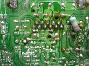Mainboard Televisi Polytron/ tanda panah lokasi V sync