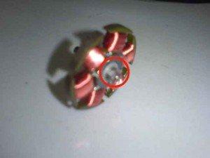 Gbr 3 Kumparan motor SL / lingkaran merah letak terjadinya masalah