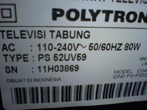 PS52UV59 Televisi Polytron Matot Mati Total