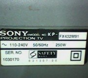 model projection tv sony