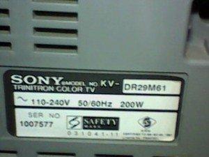 model tv sony kv-dr29m61